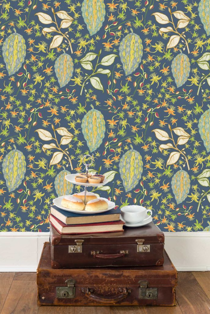 Susanne Mason design, Wallpaper with Chocolate fruits pattern