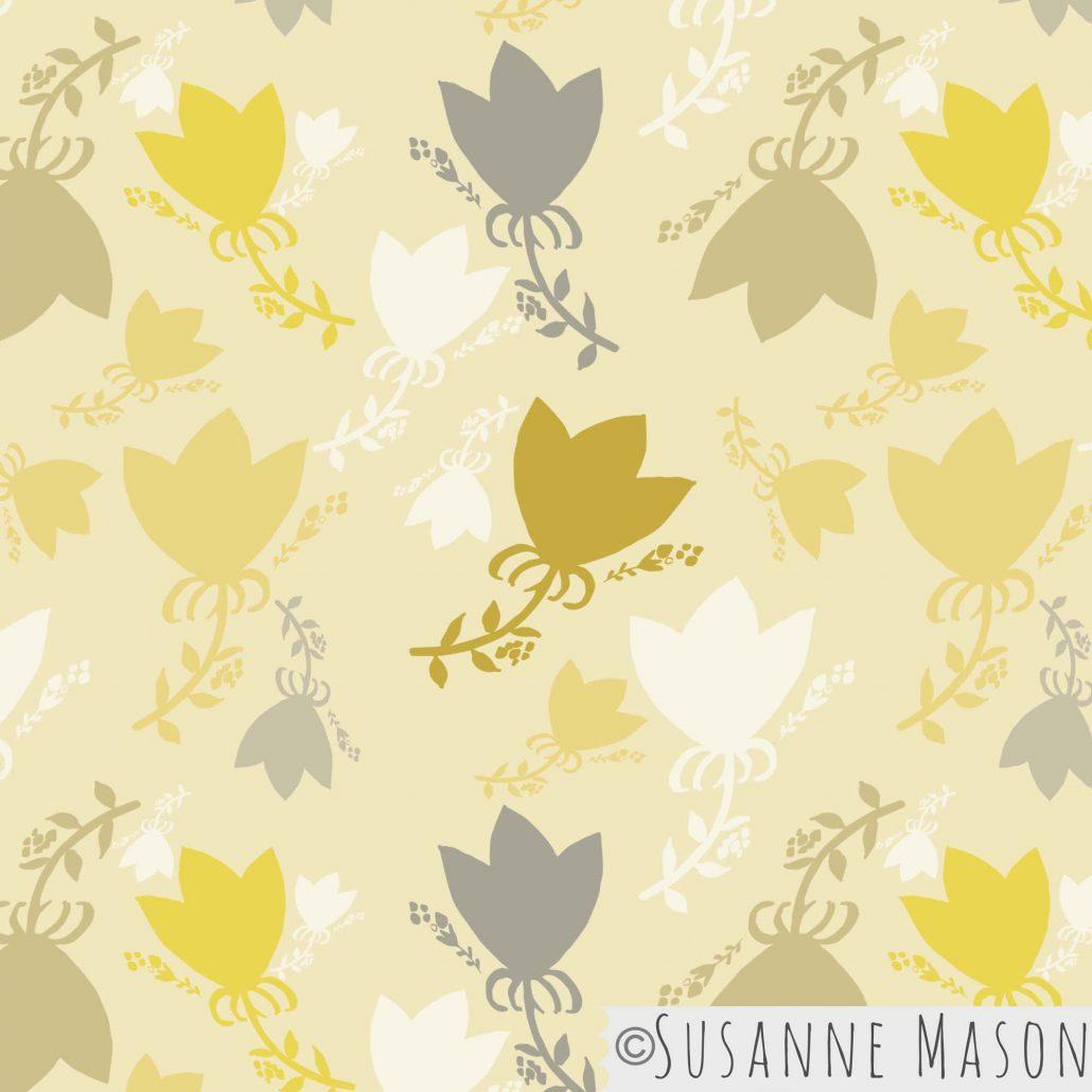 Morning Light, bright tossed pattern by Susanne Mason pattern design