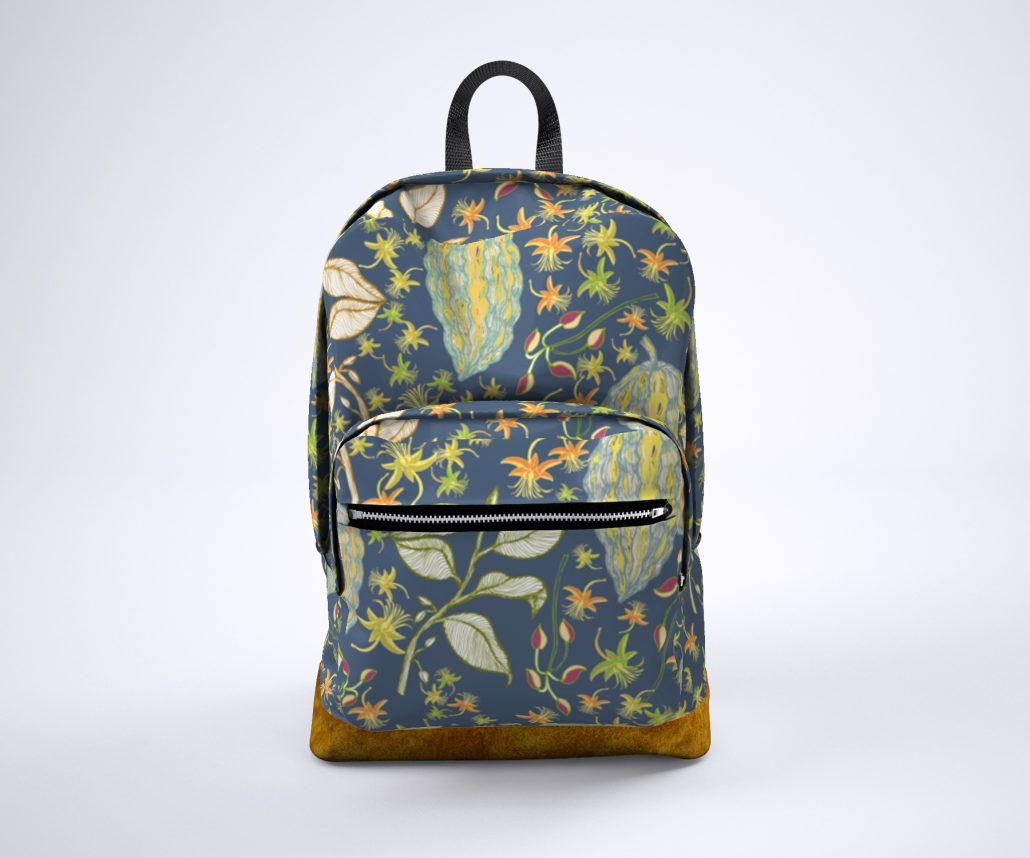 Susanne Mason design, backpack with colourful Chocolate fruits & flowers pattern