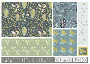 Susanne Mason design, cacao fruits & flowers pattern