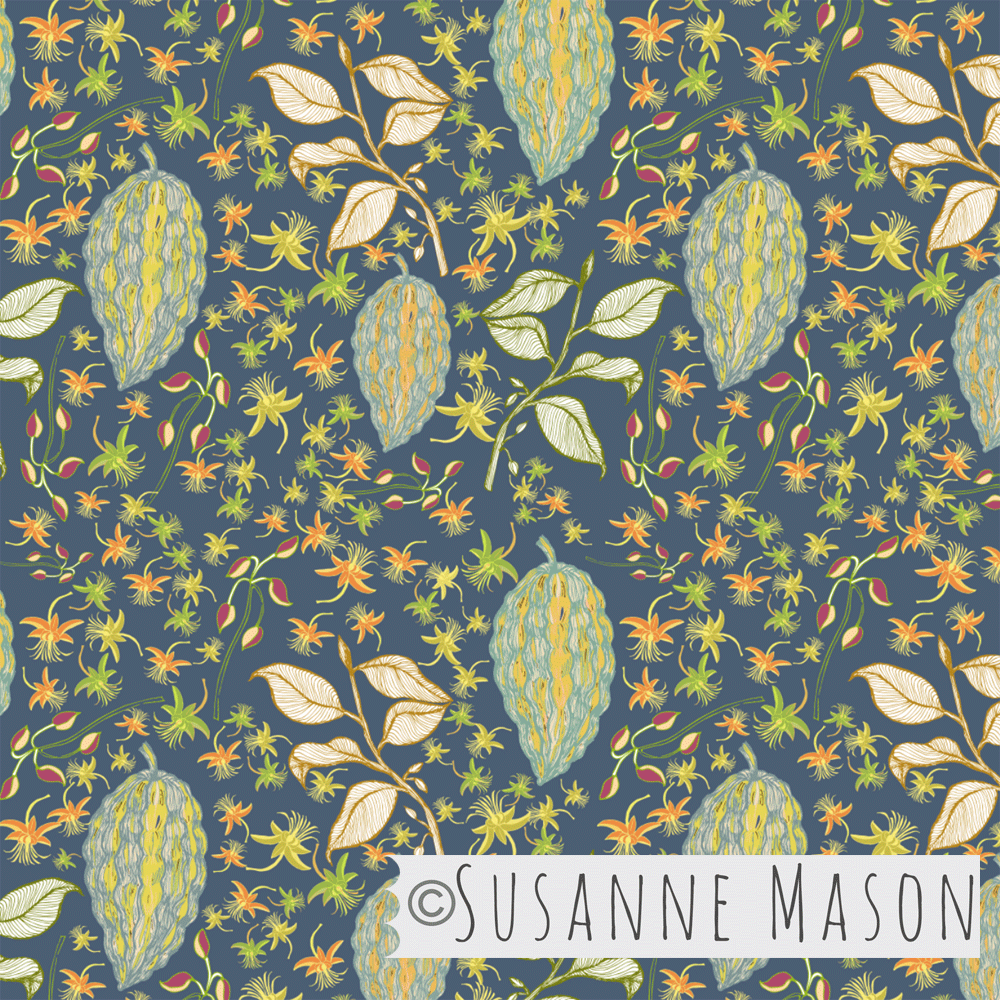 Susanne Mason design, colourful Colourful Chocolate Fruit & Flowers collection