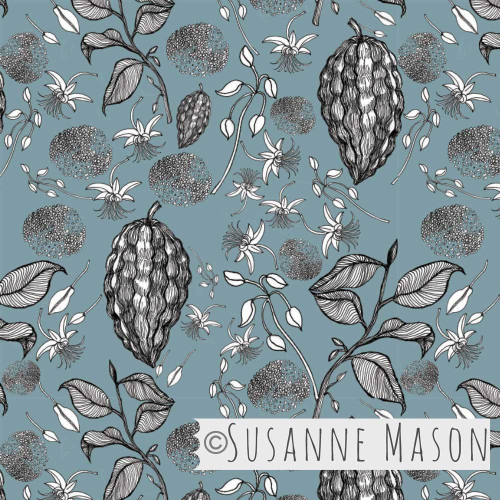 Susanne Mason design, Chocolate fruit pattern with graphic motifs
