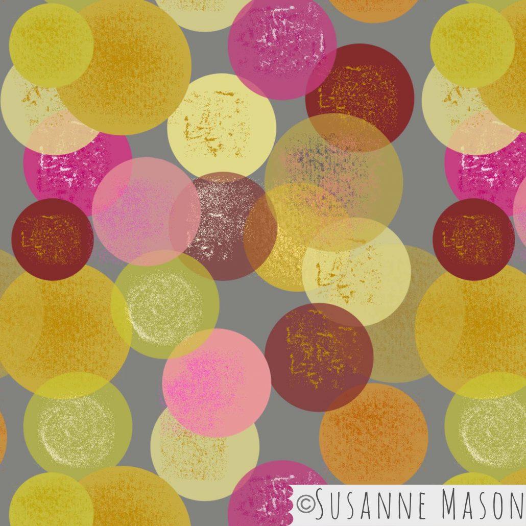 Morning Light, colourful bubbles pattern by Susanne Mason pattern design