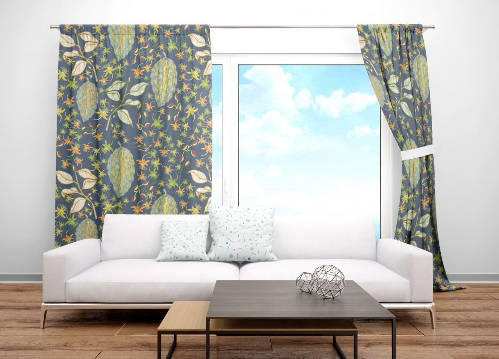 Susanne Mason design, curtains with colourful Chocolate fruits & flowers pattern