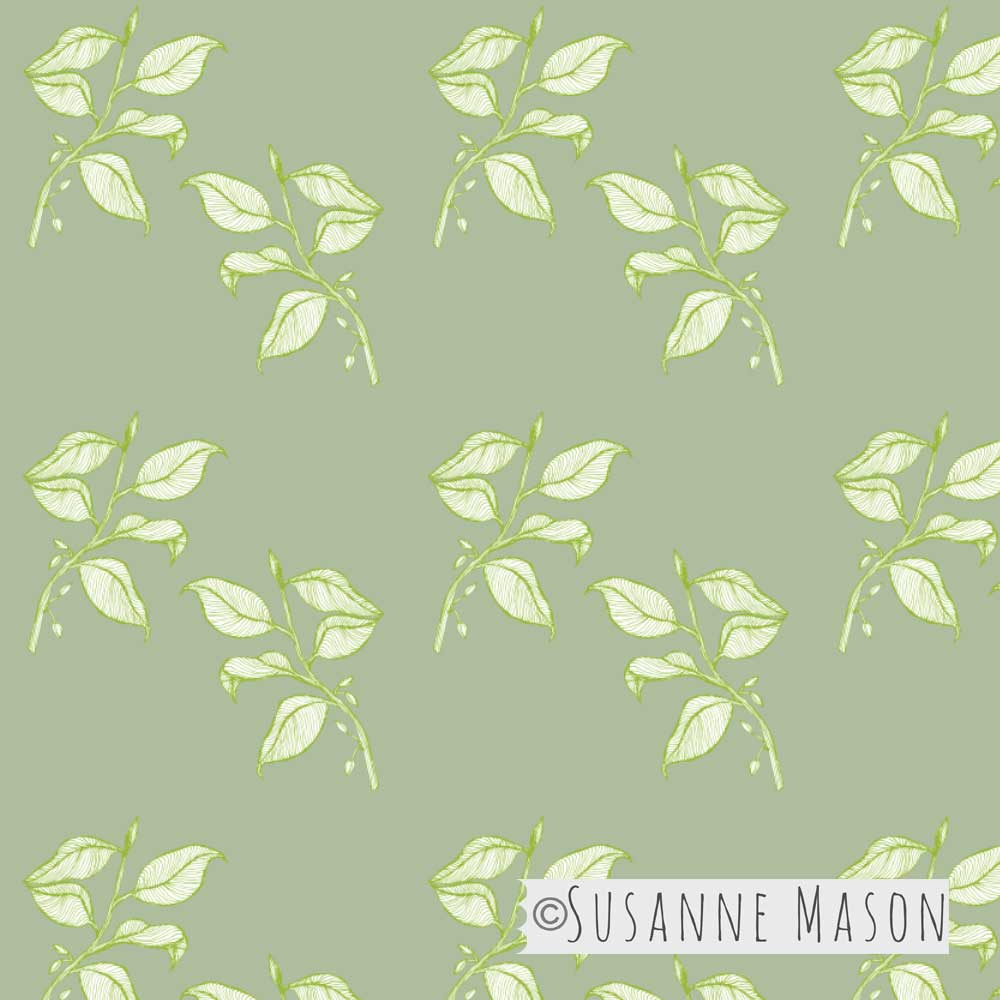 Susanne Mason design, Chocolate, leaves pattern