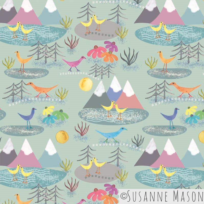 Sue Mason design, meandering birds