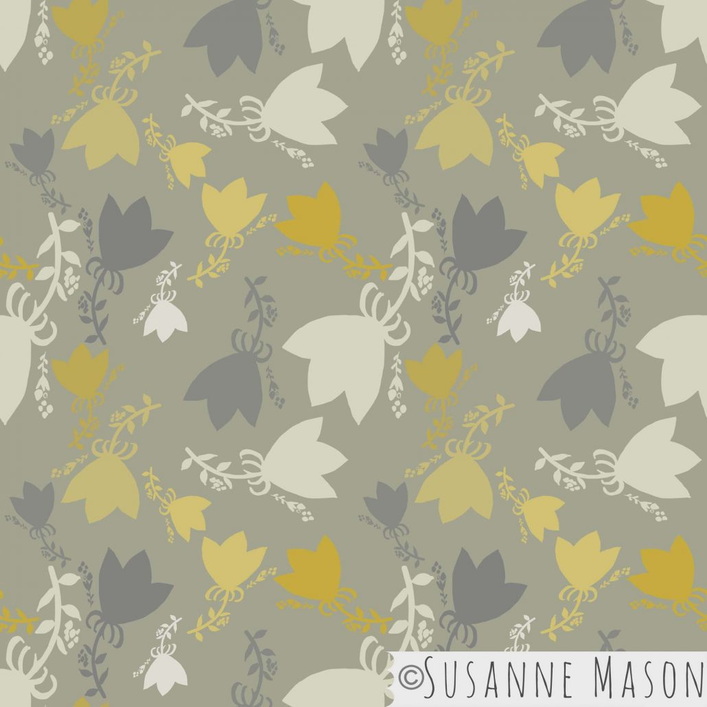 Morning Light, tossed grey pattern by Susanne Mason pattern design