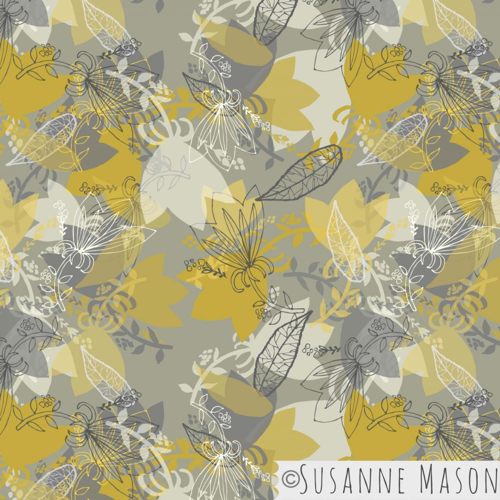 Morning Light, tossed pattern with line motifs by Susanne Mason pattern design