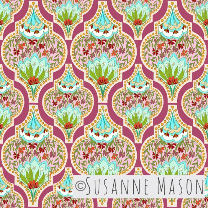 Blue Melody floral, mauve, Susanne Mason design