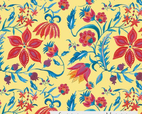 Susanne Mason design, Jaipur red flowers