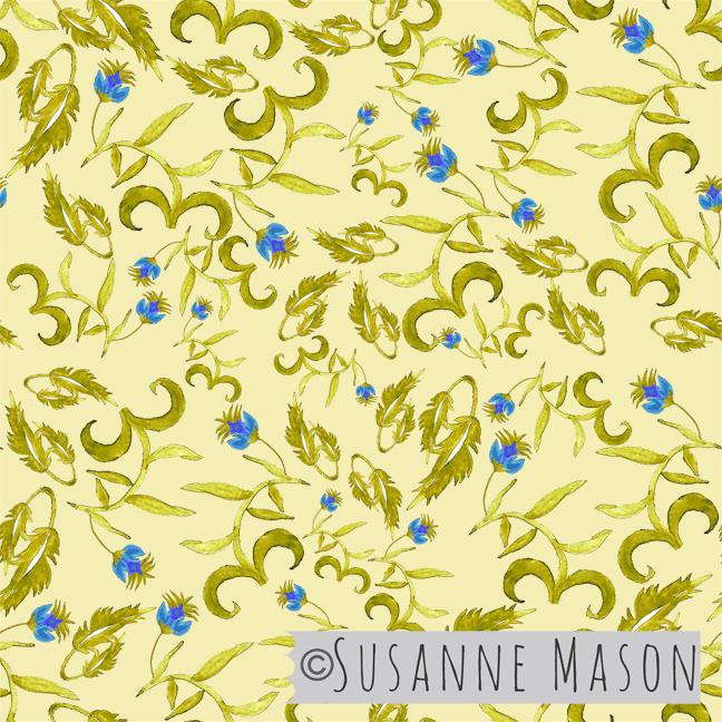 Susanne Mason design, Jaipur golden leaves