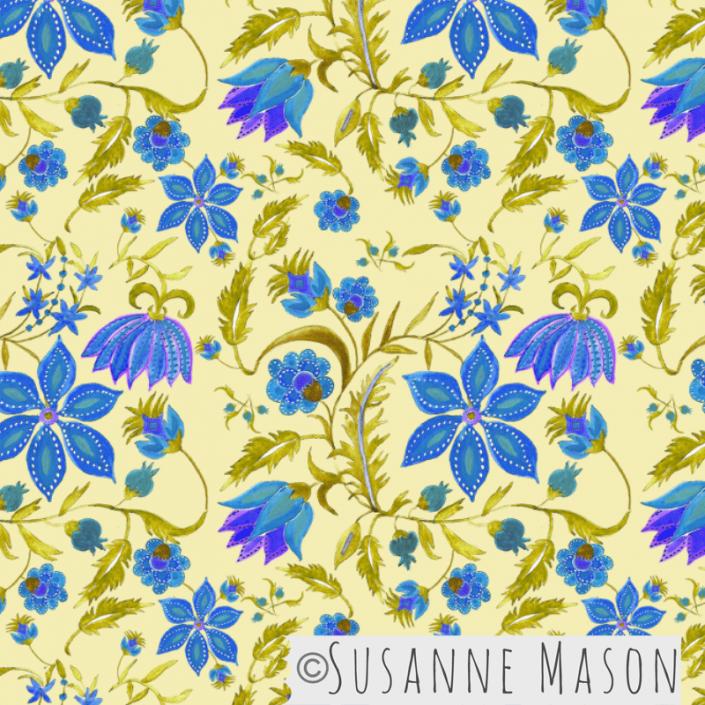 Susanne Mason design, Jaipur blue flowers
