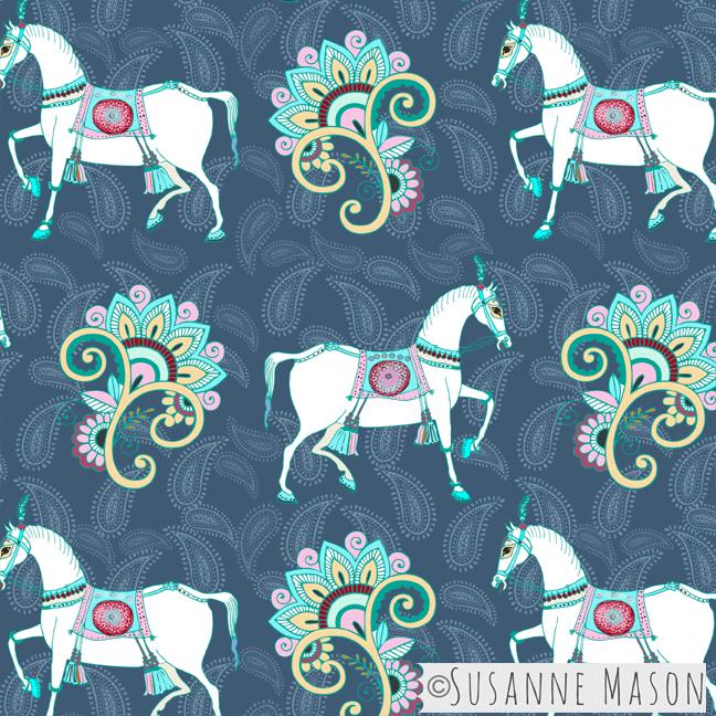 Blue Melody horse parade,Susanne Mason design