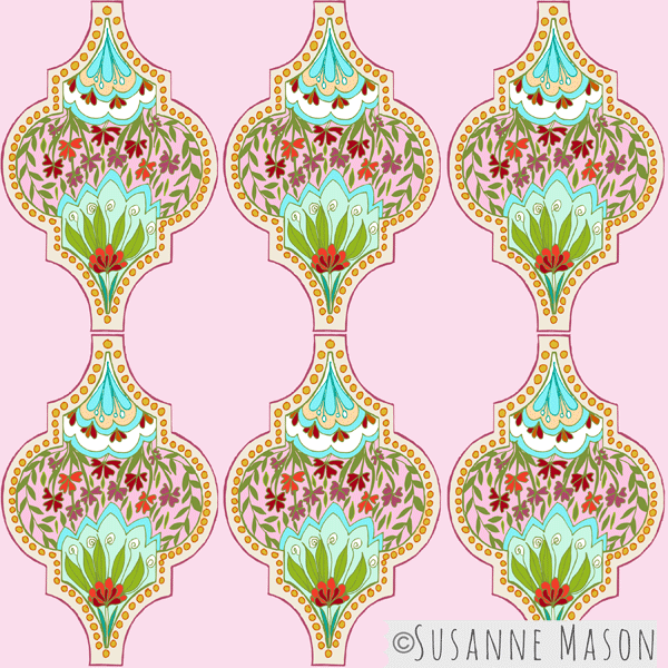 Susanne Mason pattern design, Pink Light