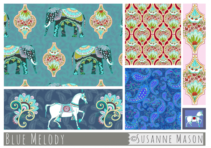 Blue Melody pattern collection, Susanne Mason design