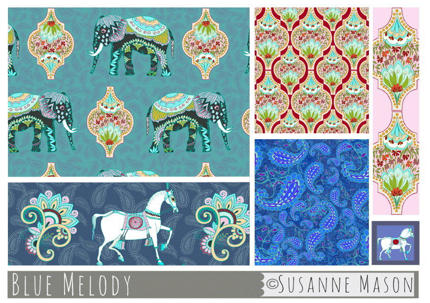 Blue Melody pattern collection, Susanne Mason design