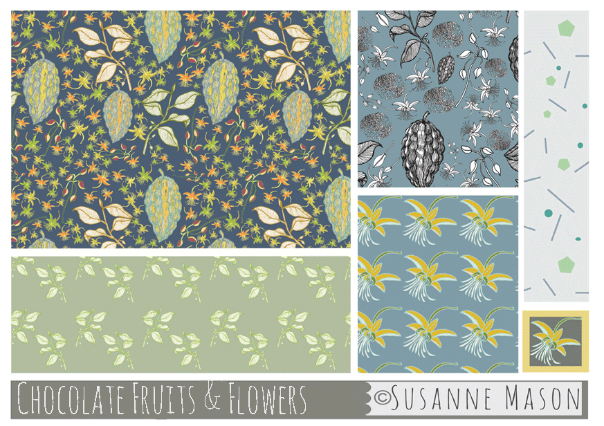 Chocolate Fruits & Flowers collection, Susanne Mason design
