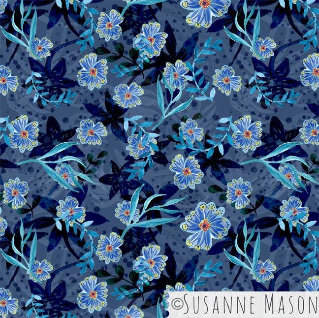 Dark Blue Floral, Susanne Mason Design