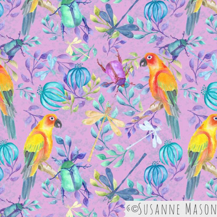 Rainforest, pink background, Susanne Mason design