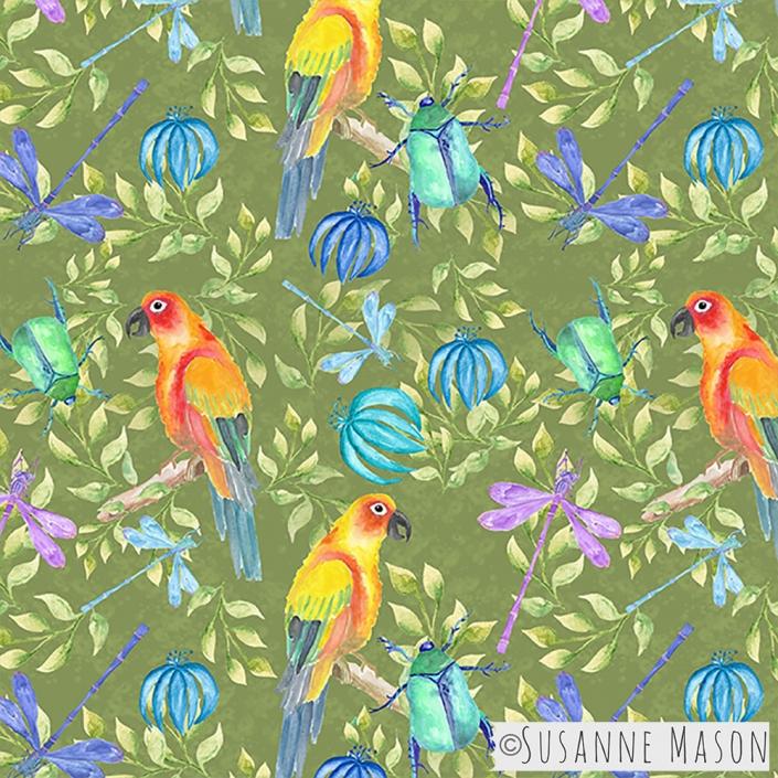Rainforest, green background, Susanne Mason design