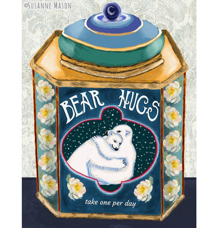 Bear Hugs tin, by Susanne Mason