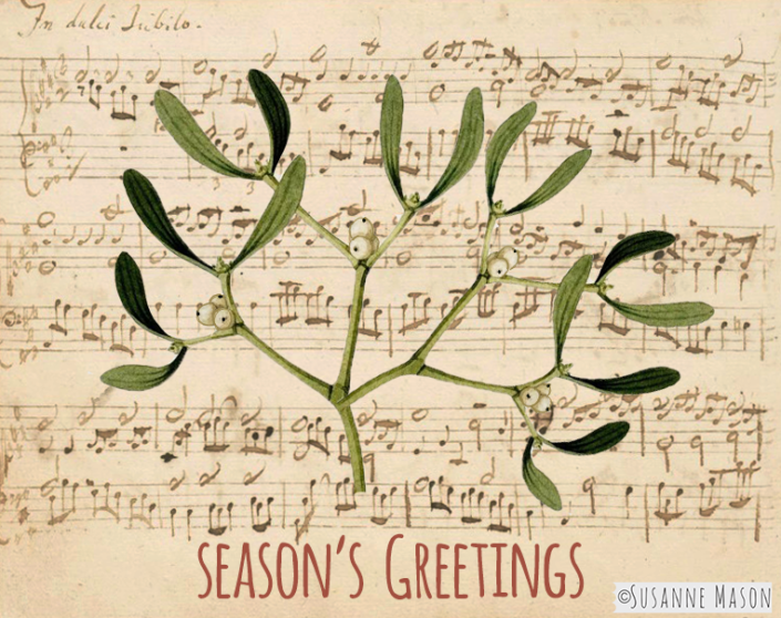 Christmas music and mistletoe, by Susanne Mason