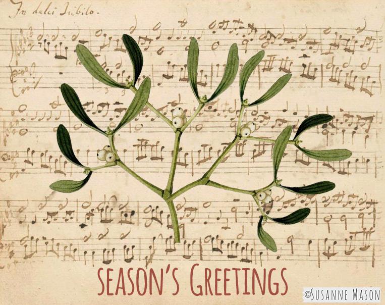 Christmas music and mistletoe, by Susanne Mason