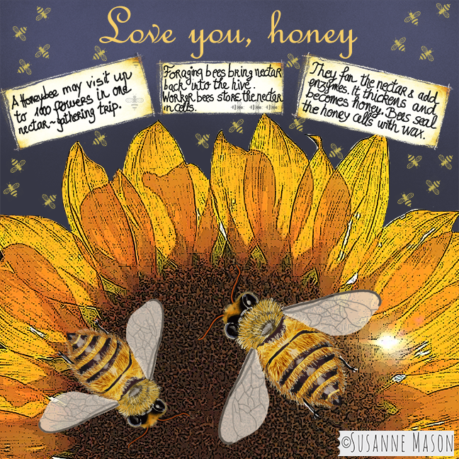 Love you, honey - Illustration by Susanne Mason