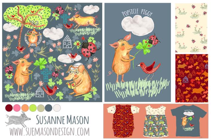 Popsicle Piggy Pattern Collection, by Susanne Mason