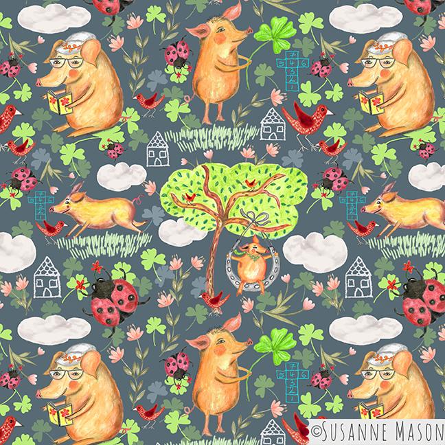 Popsicle piggy main pattern, by Susanne Mason