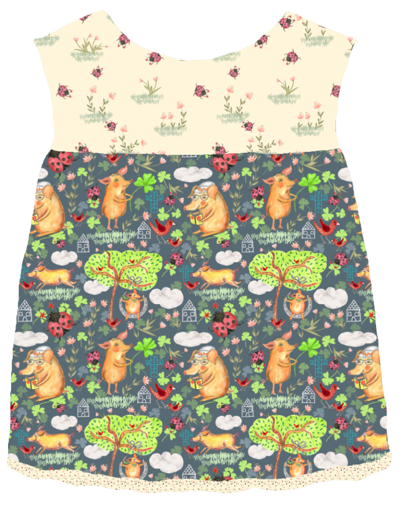 Baby dress, with Popsicle pig pattern, by Susanne Mason