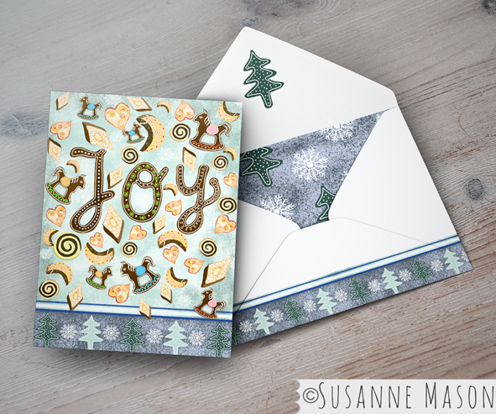 Joy, Christmas card presentation by Susanne Mason