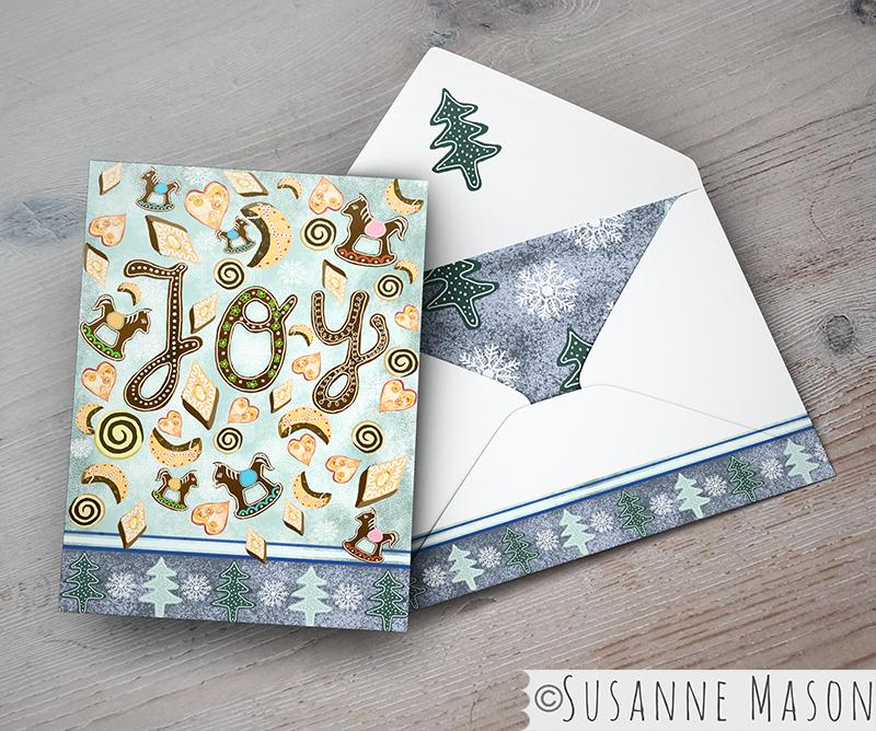 Joy, Christmas card presentation by Susanne Mason