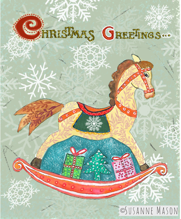 Rocking horse Christmas card, by Susanne Mason