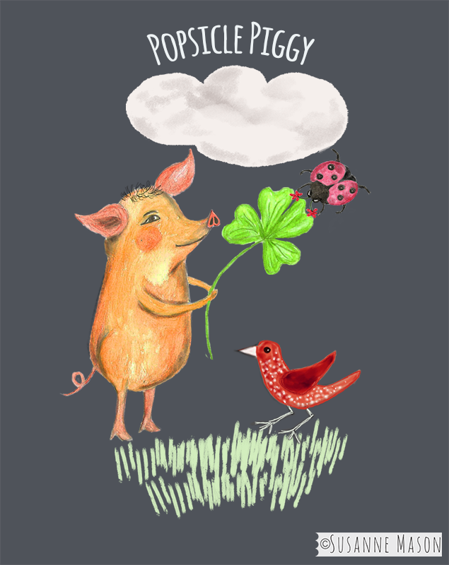 Popsicle piggy with clover and ladybird, by Susanne Mason