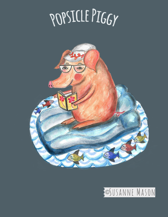 Popsicle piggy on lilo, by Susanne Mason