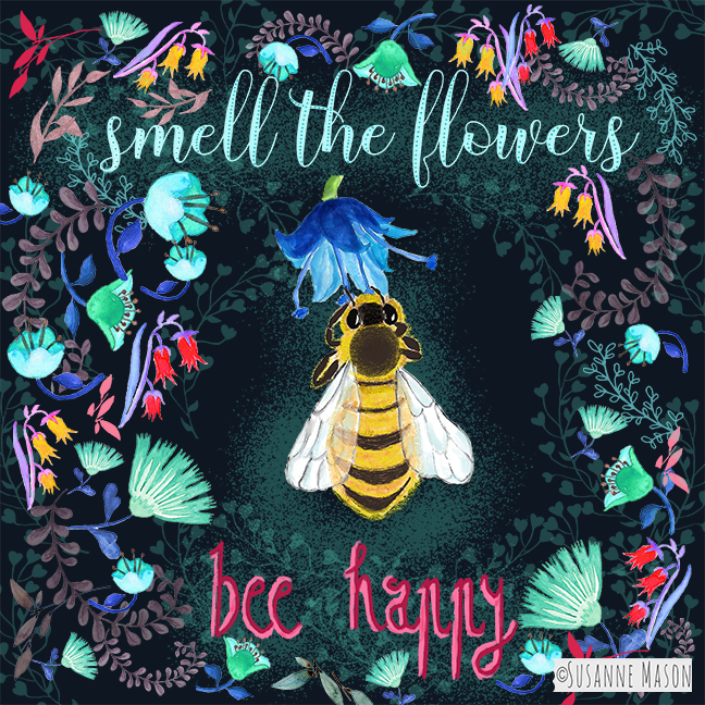 Bee happy, by Susanne Mason