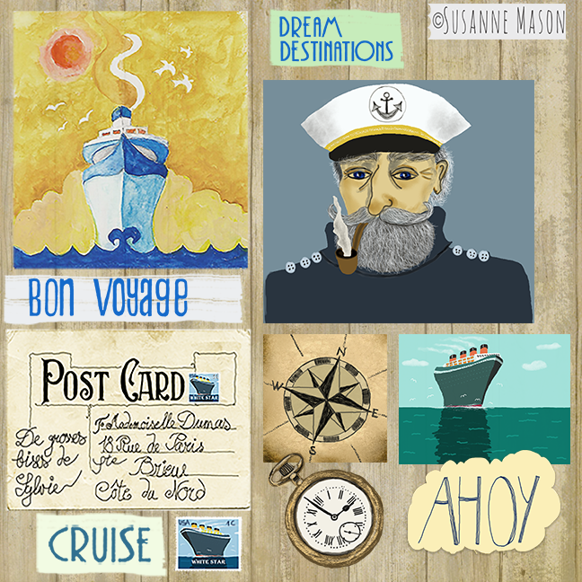 Ahoy! Scrapbooking sheet by Susanne Mason