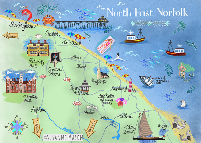 North East Norfolk map, by Susanne Mason