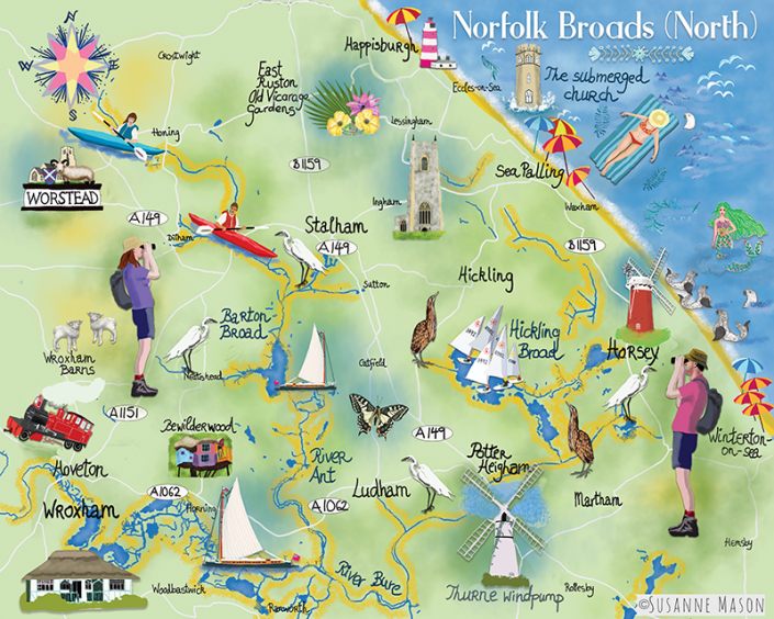 Illustrated map of the Norfolk Broads , by Susanne Mason