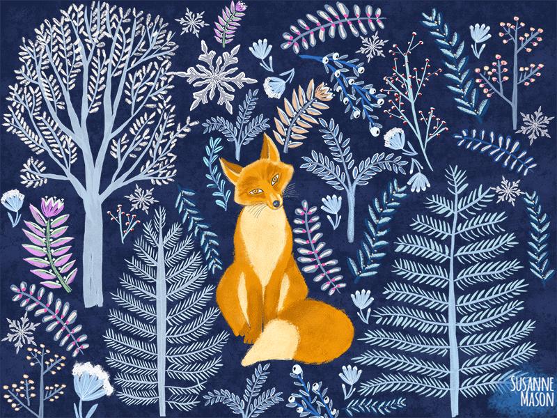 Winter Fox, illustration by Susanne Mason