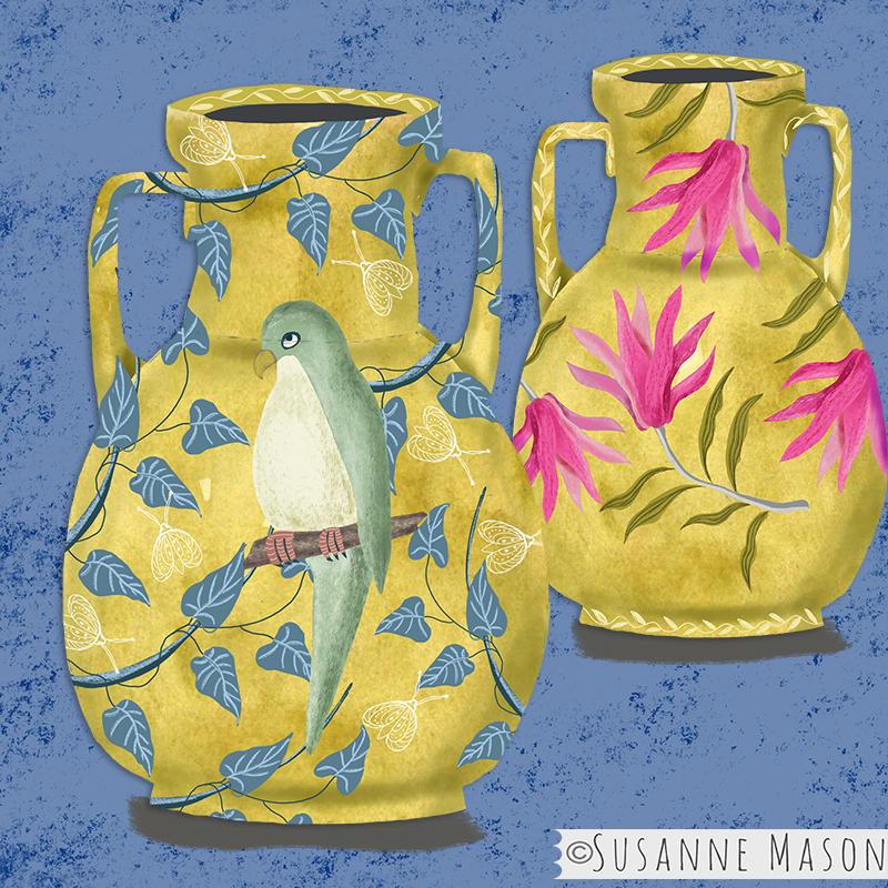 vases with Nostalgia motifs, by Susanne Mason