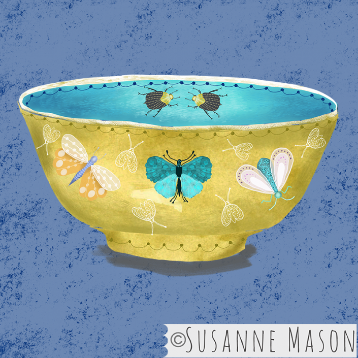 bowl with Nostalgia moth motifs, by Susanne Mason