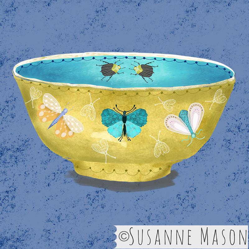 bowl with Nostalgia moth motifs, by Susanne Mason