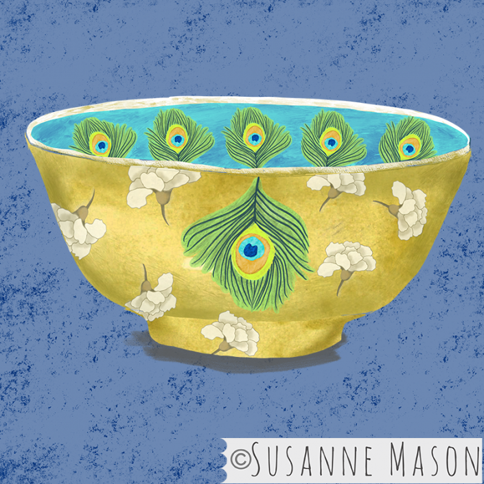 bowl with Nostalgia peacock motifs, by Susanne Mason