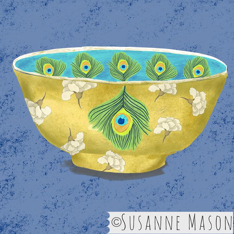 bowl with Nostalgia peacock motifs, by Susanne Mason