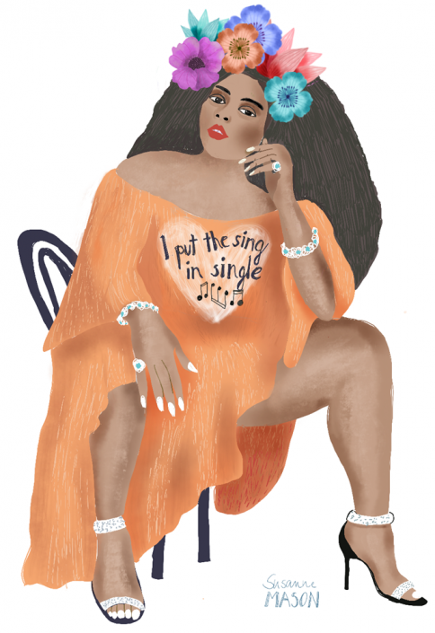 Lizzo Portrait, editorial illustration by Susanne Mason