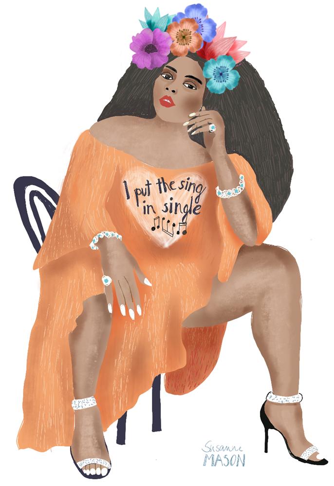Lizzo Portrait, editorial illustration by Susanne Mason