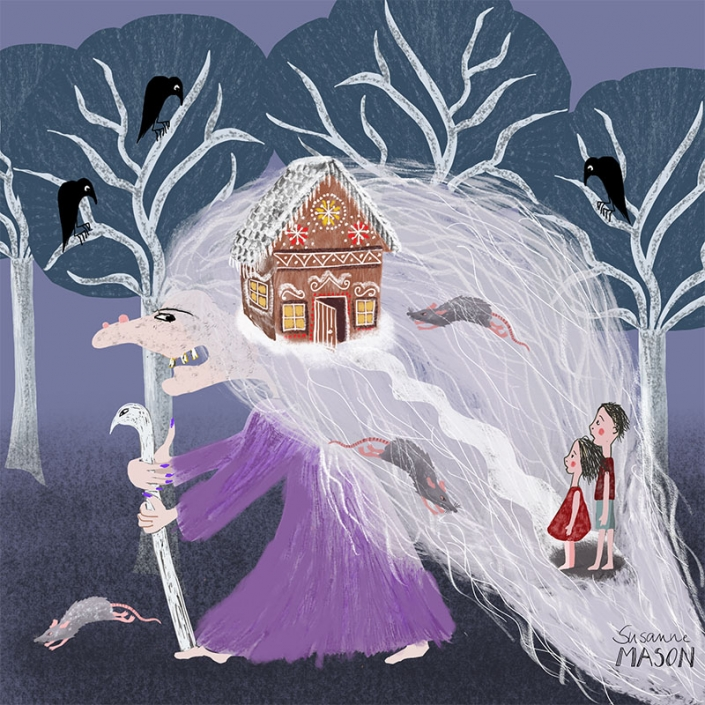 Folktale illustration for Hansel & Gretel, by Susanne Mason