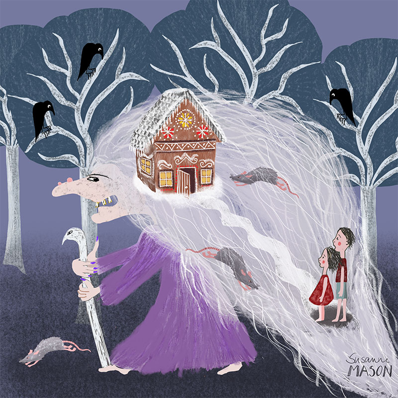 Folktale illustration for Hansel & Gretel, by Susanne Mason